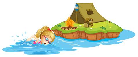 Een meisje dat dichtbij een eiland met tent zwemt