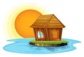 Een nipat hut op een eiland