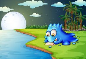 Een blauw monster dat een brief schrijft bij de rivieroever