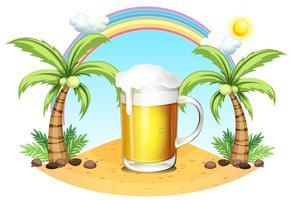 Een glas bier op het strand vector