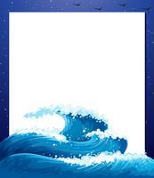 Een lege papieren sjabloon met gigantische golven vector