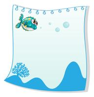 Een lege papieren sjabloon met een vis vector