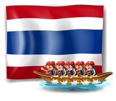 Een boot met mannen dichtbij de vlag van Thailand