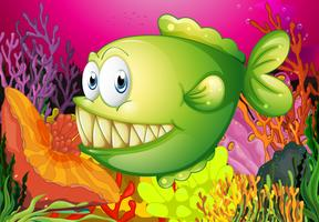 Een groene piranha