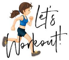 Vrouw joggen met zin laten we het werkblad