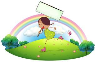 Een meisje in de heuvel met een uithangbord