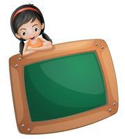 Een meisje aan de achterkant van een schoolbord vector