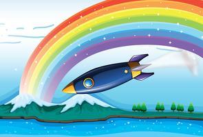 Een regenboog met fonkelende sterren en een vliegtuig