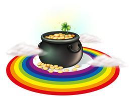 Een pot met goud in de regenboog