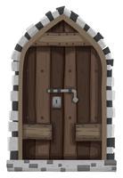 Houten deur met metalen slot