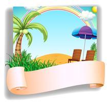 Een strandstoel en een paraplu met een signage