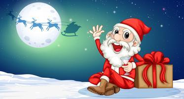 Een kerstman themplate vector
