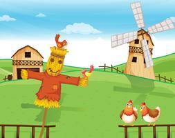 Een boerderij met een vogelverschrikker