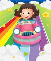 Een meisje dat haar roze auto bestuurt