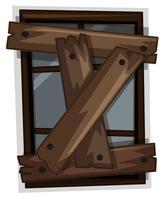 Oud raam genageld met planken