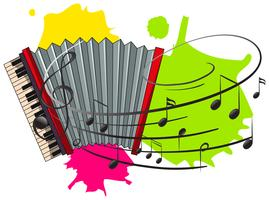 Harmonika met muzieknota's op achtergrond