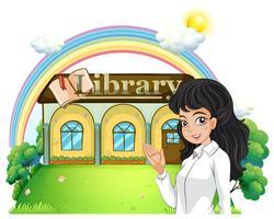 Een dame die de bibliotheek introduceert vector