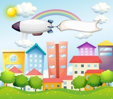 Een vliegtuig en de lege banner