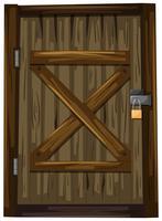 Houten deur met slot