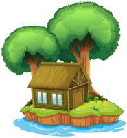 Een huis en een boom op een eiland