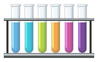 Kleurrijke chemische stof in reageerbuizen