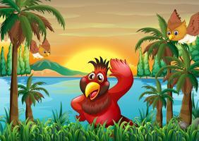 Vogels aan de rivieroever in de buurt van de kokospalmen