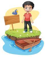 Een jongen in de buurt van het lege bord met een vogel