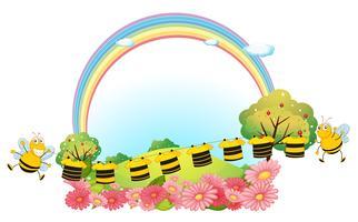 Kleding ophangen met bijen vector