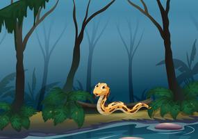 Een enge slang in het bos dichtbij de vijver