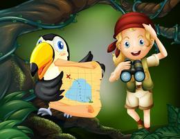 Een meisje met een papegaai die een kaart vasthoudt