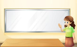 Een leraar in de kamer met een leeg prikbord vector