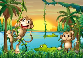 Een meer met krokodillen en apen die spelen