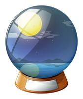 Een kristallen bol met een fullmoon binnenin