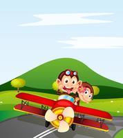 aap en vliegtuig
