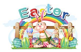 Gelukkige Pasen-kaart met konijntje en eieren vector