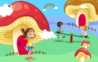 Kinderen spelen in de buurt van de gigantische paddestoel huizen vector