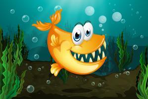 Een gele piranha dichtbij de zeewieren