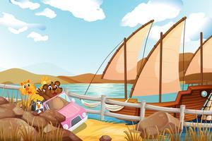 Een roze auto met dieren aan de rivieroever met een schip