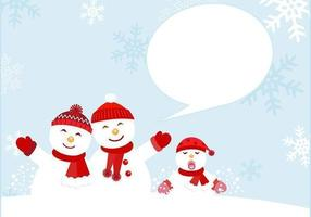 Snowman Family Card Vector