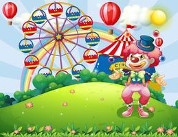 Een clown jongleren op de heuveltop over het carnaval