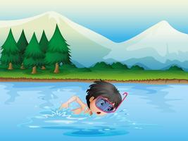 Een rivier met een zwemmende jongen