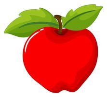 Rode appel op witte achtergrond vector