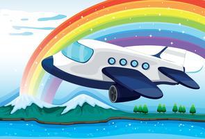 Een vliegtuig dichtbij de regenboog vector