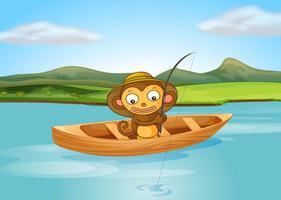 Een vissende aap