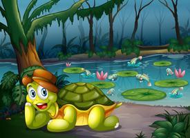 Een schildpad in het midden van het bos dichtbij de rivier