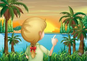 Een jonge vrouw die de rivier waarneemt vector