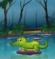 Een alligator aan de rivier in het bos