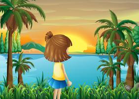 Een jong meisje dat op de rivier let vector