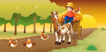 Een man rijdt in zijn kar naar de boerderij