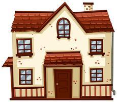 Bakstenen huis met rood dak vector